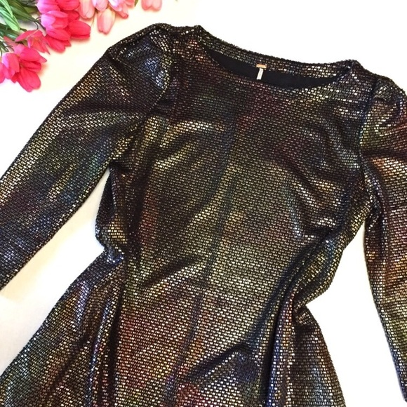 Free People Dresses & Skirts - NEW🔥DAZZLING👑Holographic FP Dress w/POCKETS